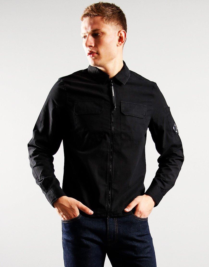 C.P. Company Gabardine Zipped Overshirt Black