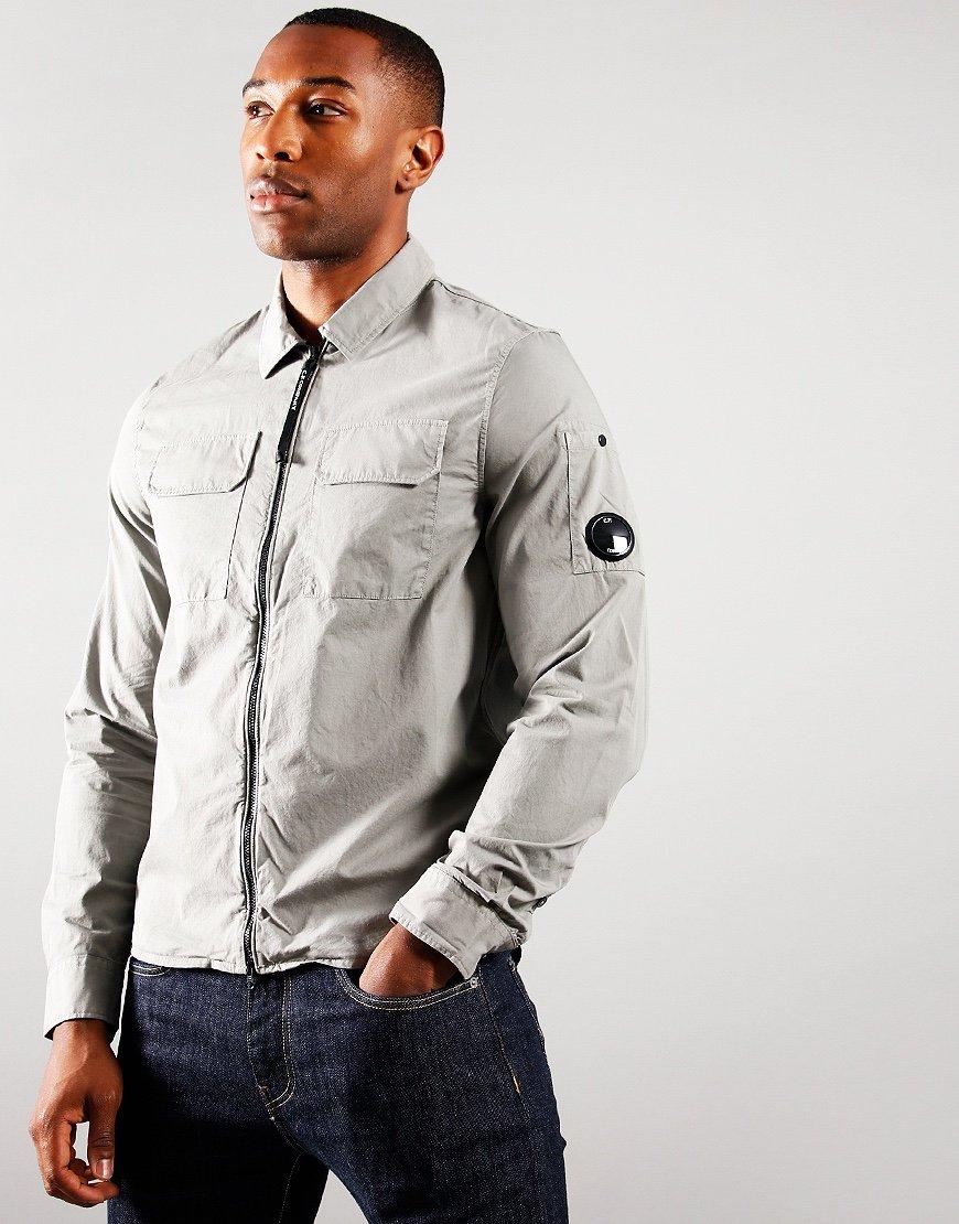 C.P. Company Gabardine Zipped Overshirt Moon Mist