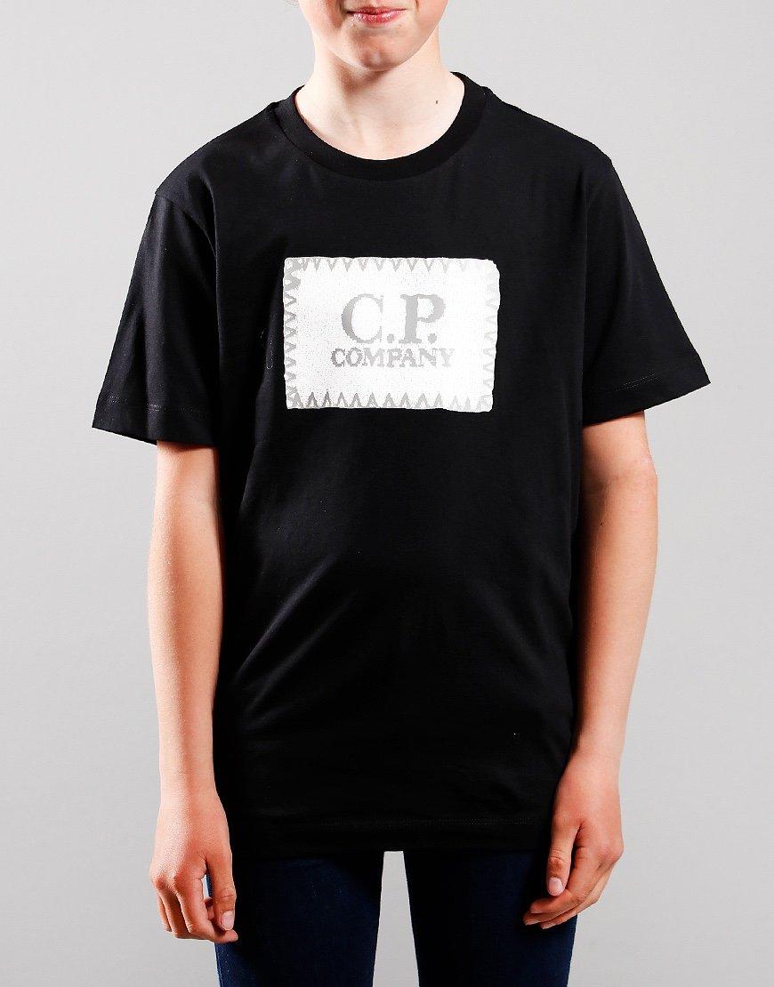 C.P. Company Kids Stitch Print Patch Logo T-Shirt Black