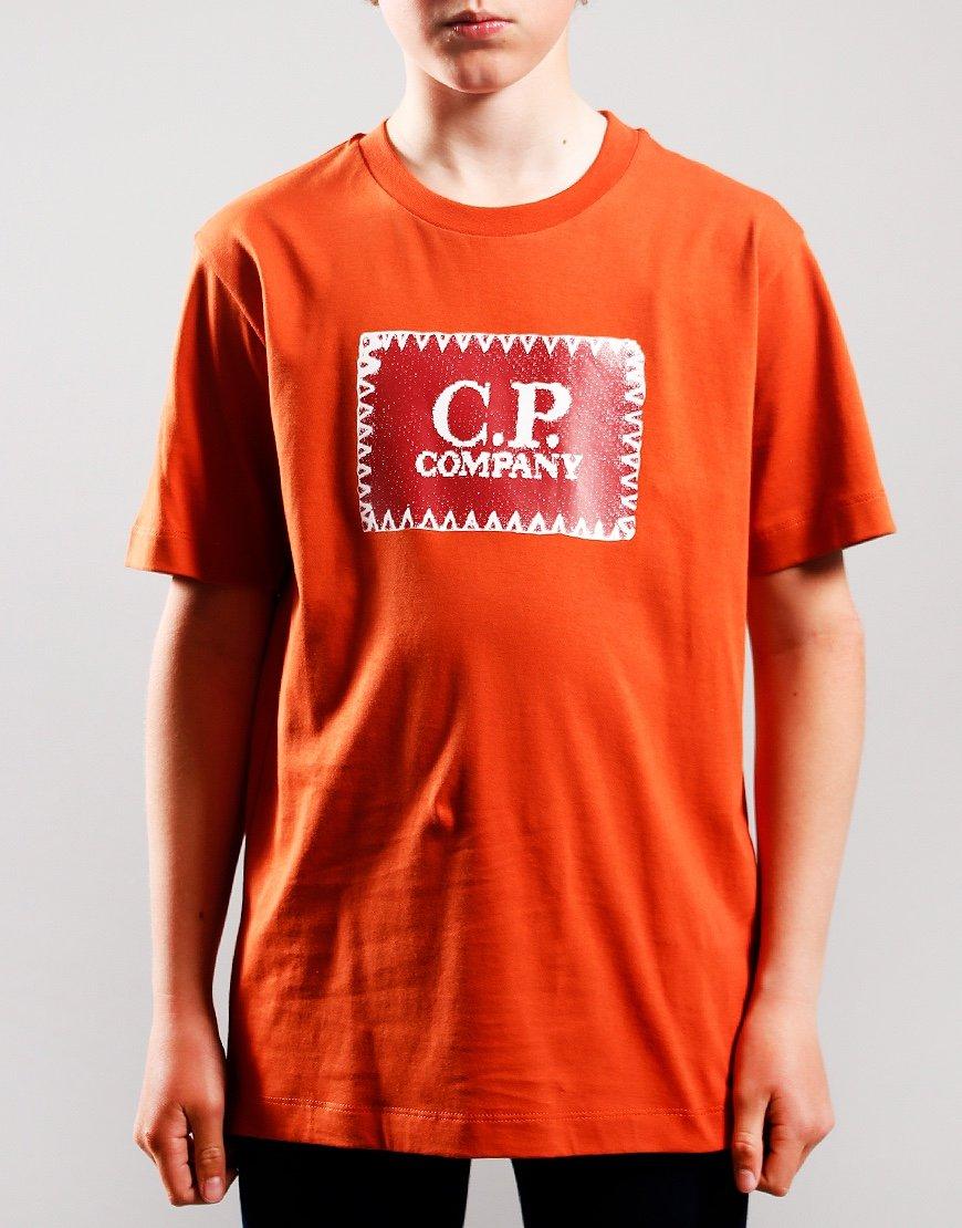 C.P. Company Kids Patch Logo T-Shirt Burnt Orange