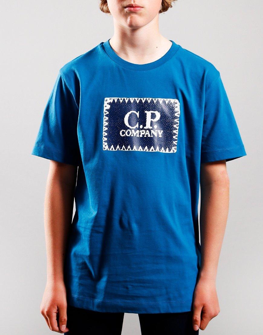 C.P. Company Kids Patch Logo T-Shirt Lyons Blue