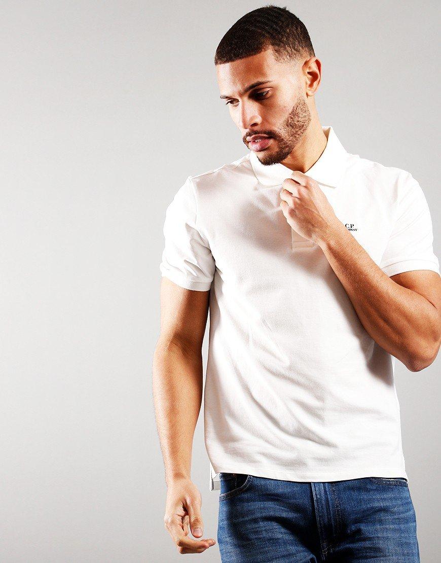 C.P. Company Logo Polo Shirt Gauze White