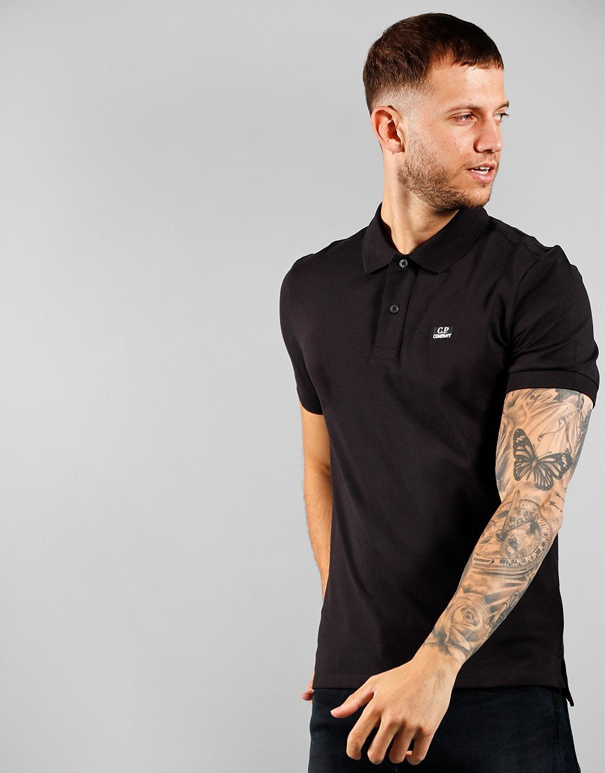 C.P. Company Short Sleeve Polo Shirt Black