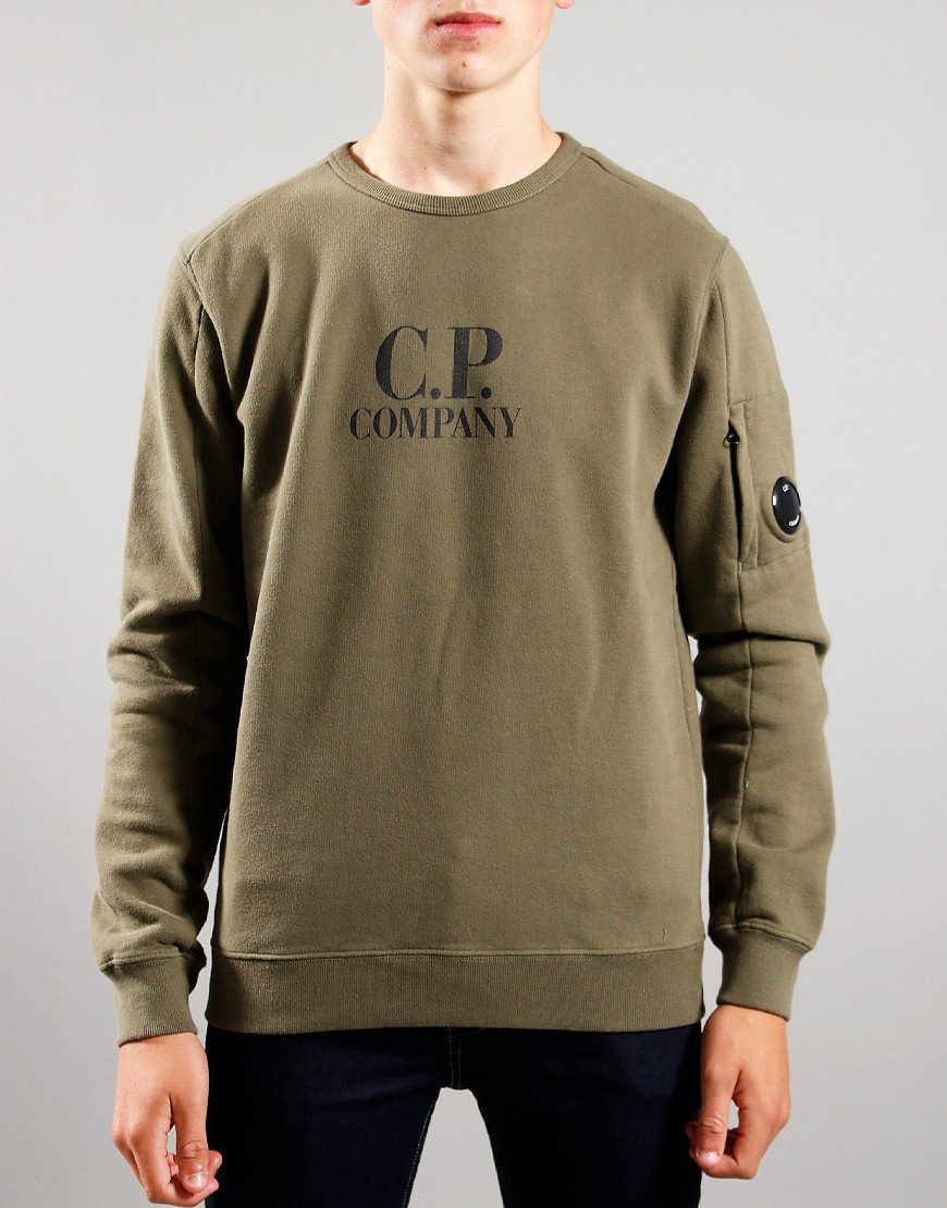 C.P. Company Kids Logo Print Sweat Stone Grey