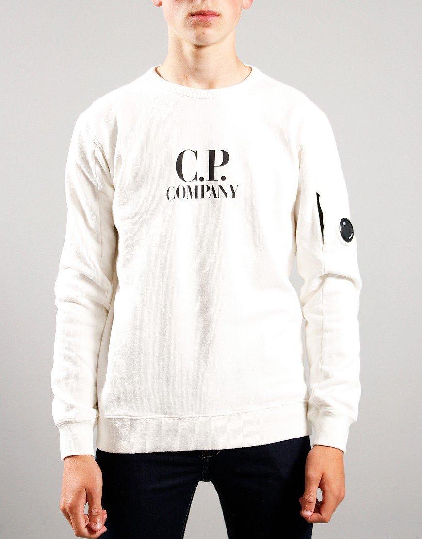 C.P. Company Kids Logo Print Sweat Gauze White