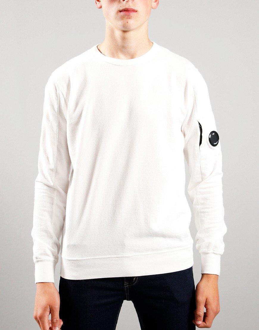 C.P. Company Kids Basic Fleece Crew Neck Sweatshirt Gauze White