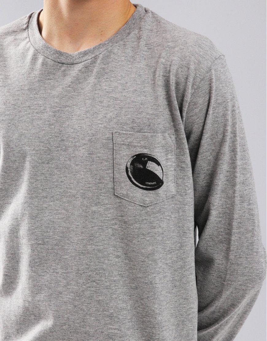 C.P. Company Kids Long Sleeve Lens Print Pocket Tee Grey Melange