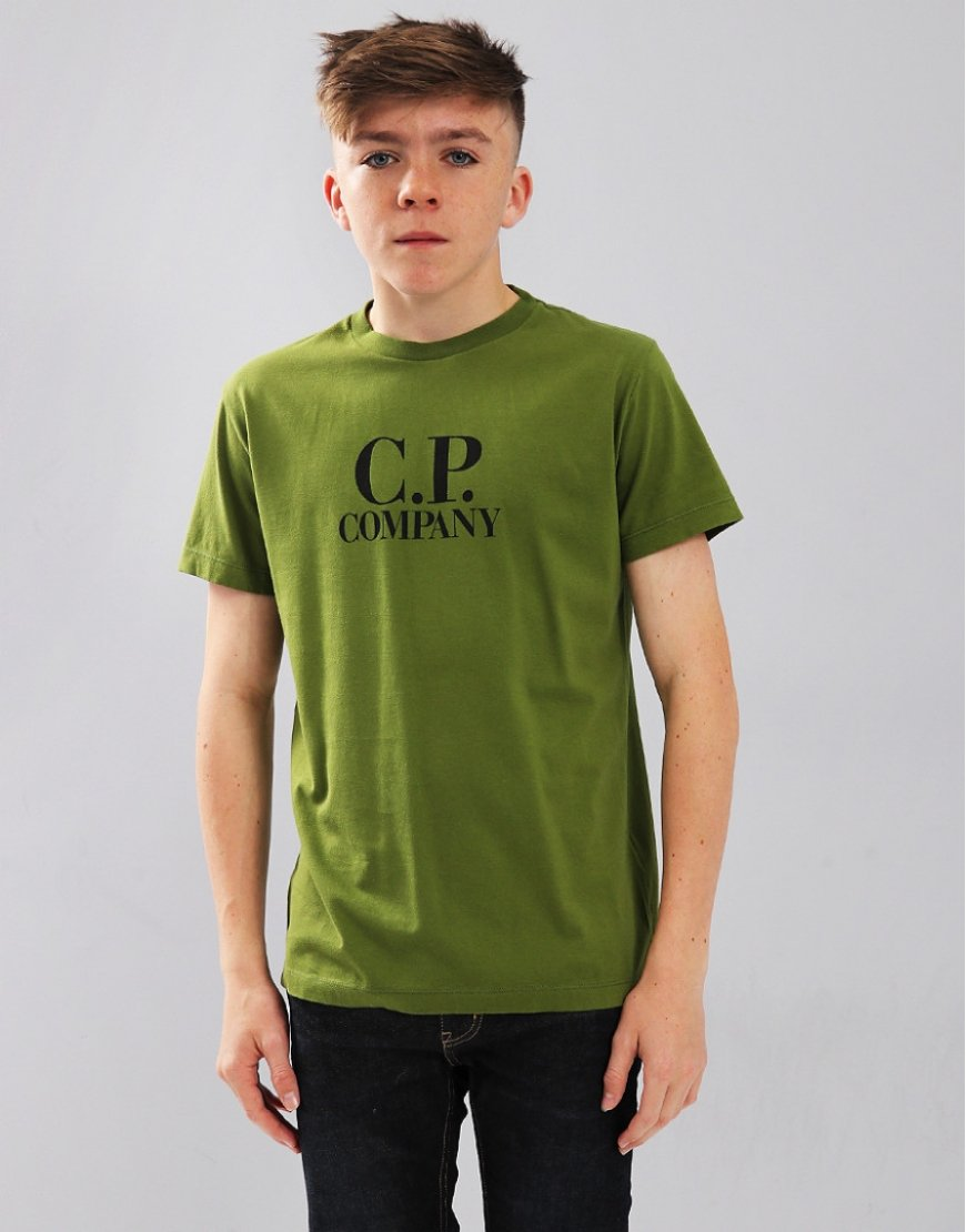 C.P. Company Kids Chest Logo T-Shirt With Hood Print Pesto