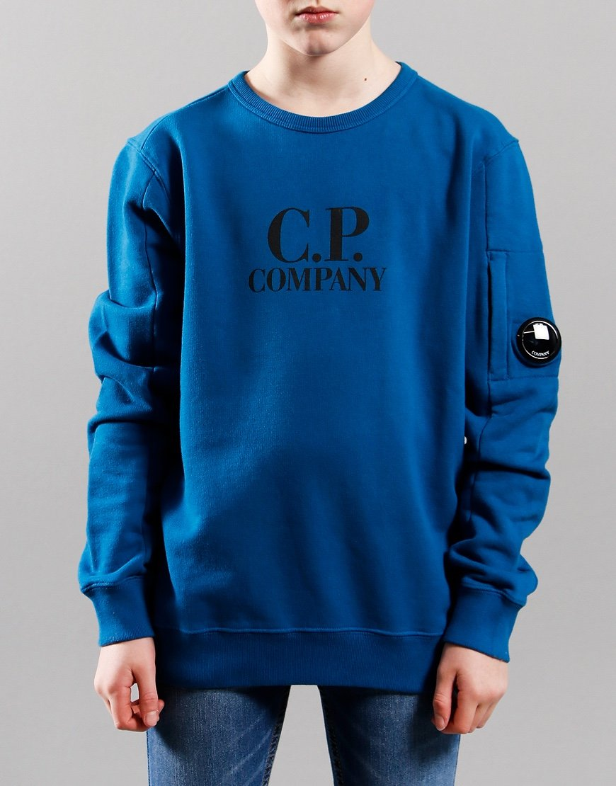C.P. Company Kids Basic Fleece Logo Print Lens Sweat Lyons Blue