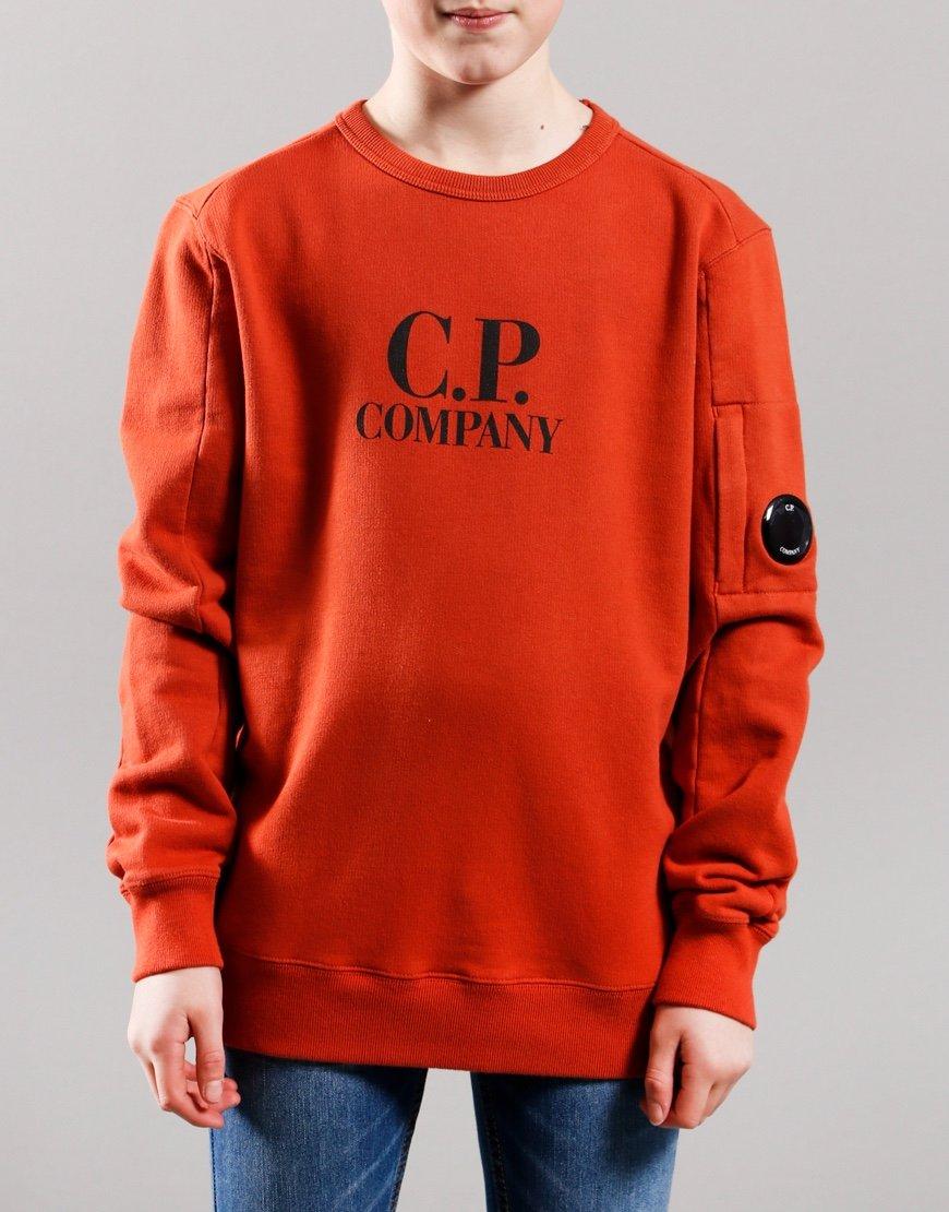 C.P. Company Kids Basic Fleece Logo Print Lens Sweat Burnt Orange