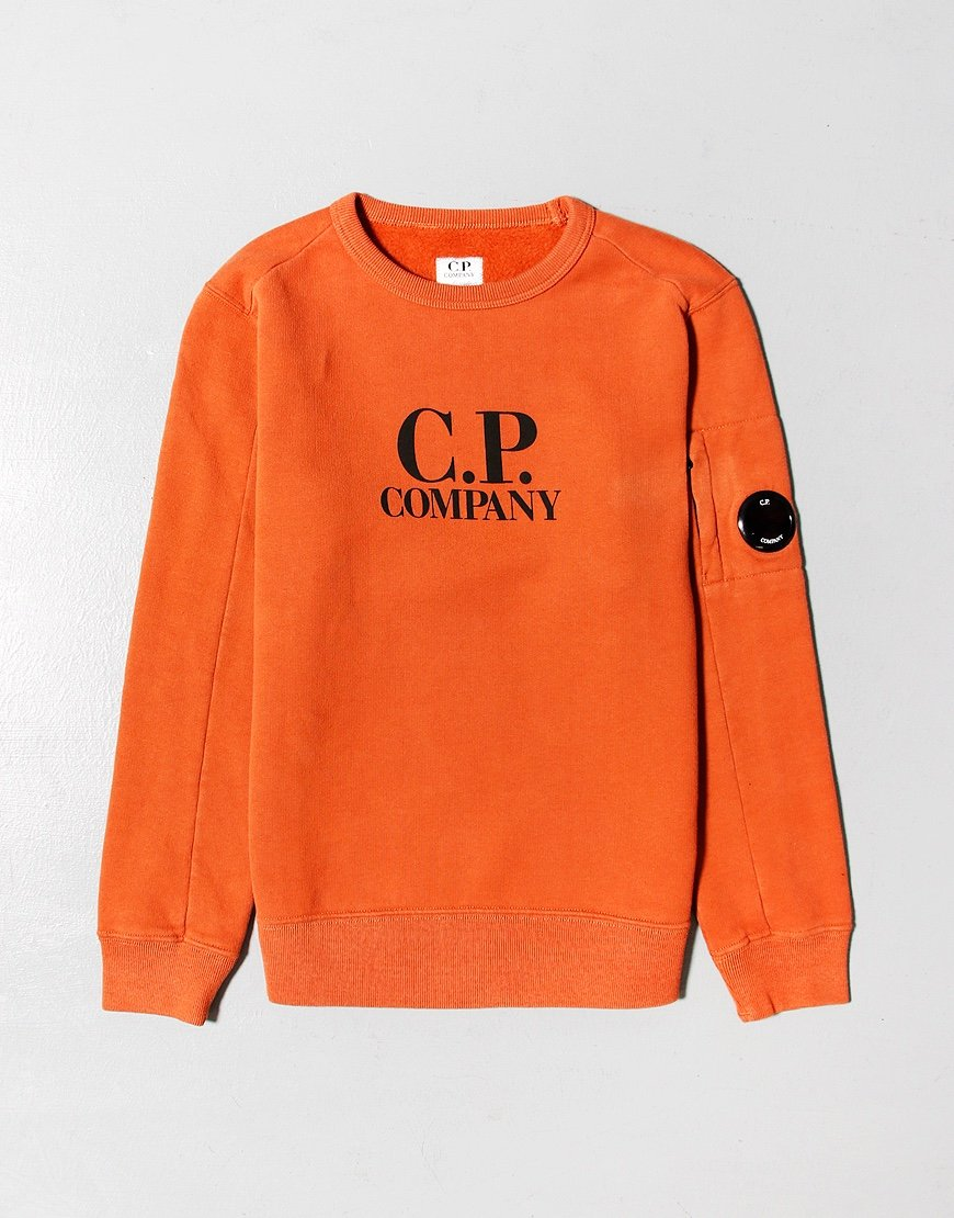 C.P. Company Kids Basic Fleece Logo Print Lens Sweat Rusty Orange