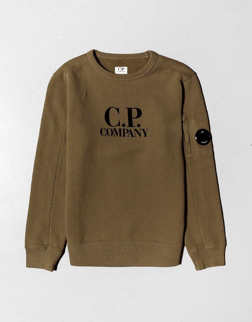 C.P. Company Kids Basic Fleece Logo Print Lens Sweat Ivy Green