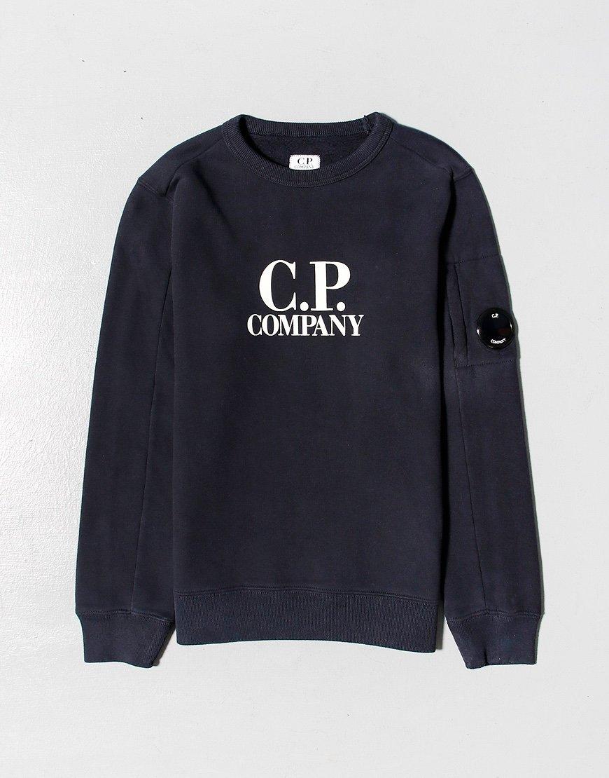 C.P. Company Kids Basic Fleece Logo Print Lens Sweat Total Eclipse