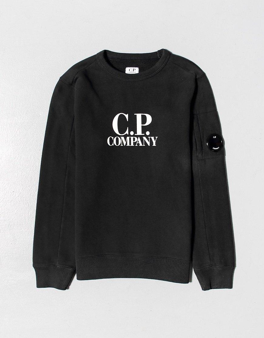 C.P. Company Kids Basic Fleece Logo Print Lens Sweat Black