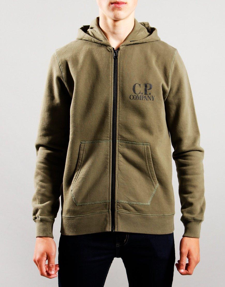 C.P. Company Kids Goggle Hooded Zip Up Hoodie Stone Gray