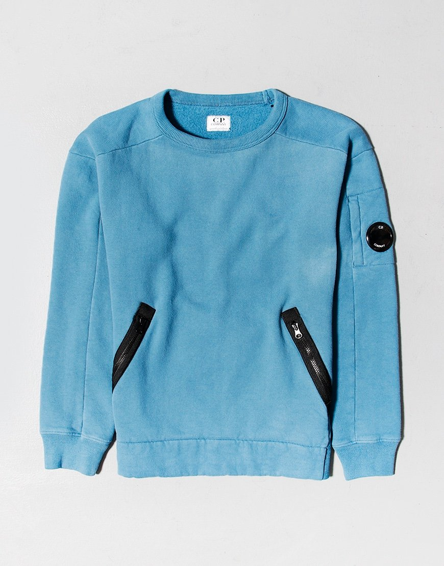 C.P. Company Kids Zip Pocket Fleece Lens Sweat Saxony Blue