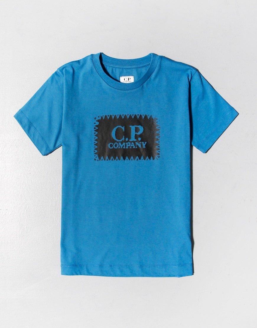 C.P. Company Kids Patch Logo T-Shirt Saxony Blue