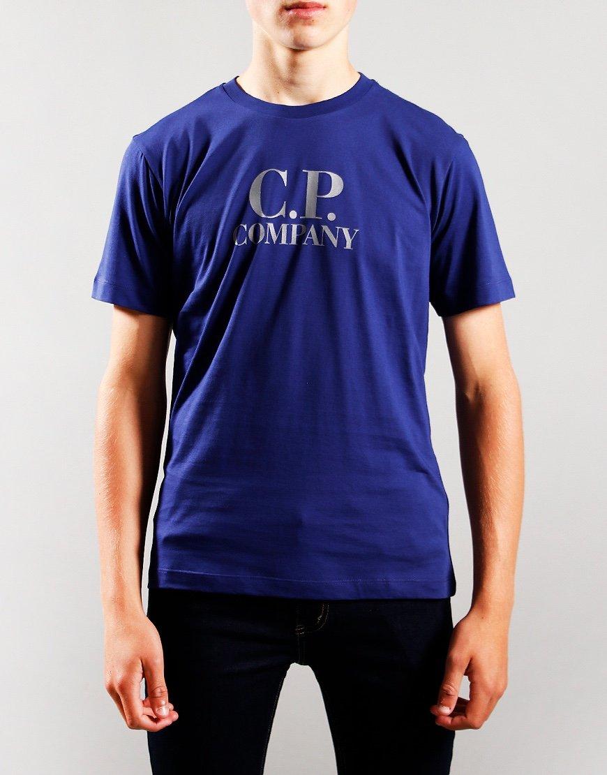 C.P. Company Kids Chest Logo Hood Print T-Shirt Blueprint