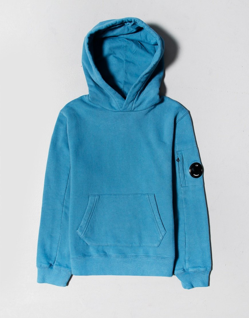 C.P. Company Kids Basic Fleece Pullover Lens Hoodie Saxony Blue