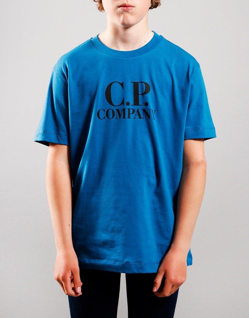 C.P. Company Kids Chest Logo Hood Print T-Shirt Lyons Blue