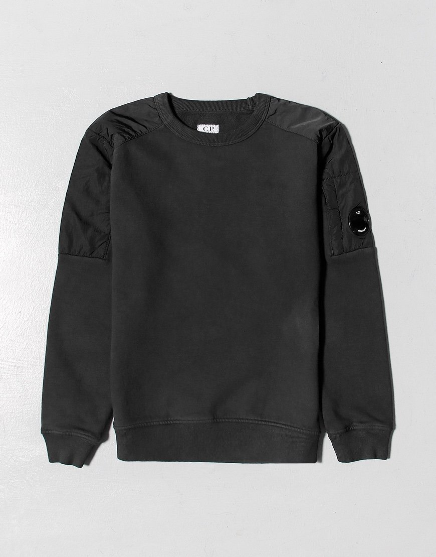 C.P. Company Kids Garment Dyed Basic Fleece Mixed Lens Sweat Black
