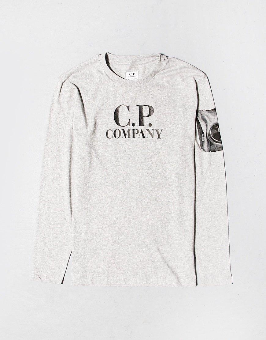 C.P. Company Kids Printed Arm Lens Long Sleeve T-shirt Grey Melange