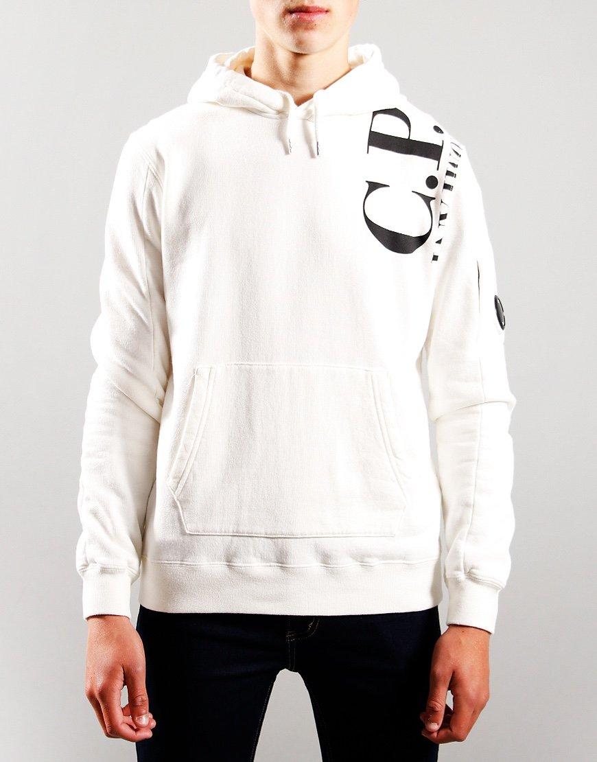 C.P. Company Kids Logo Print Hoodie Gauze White
