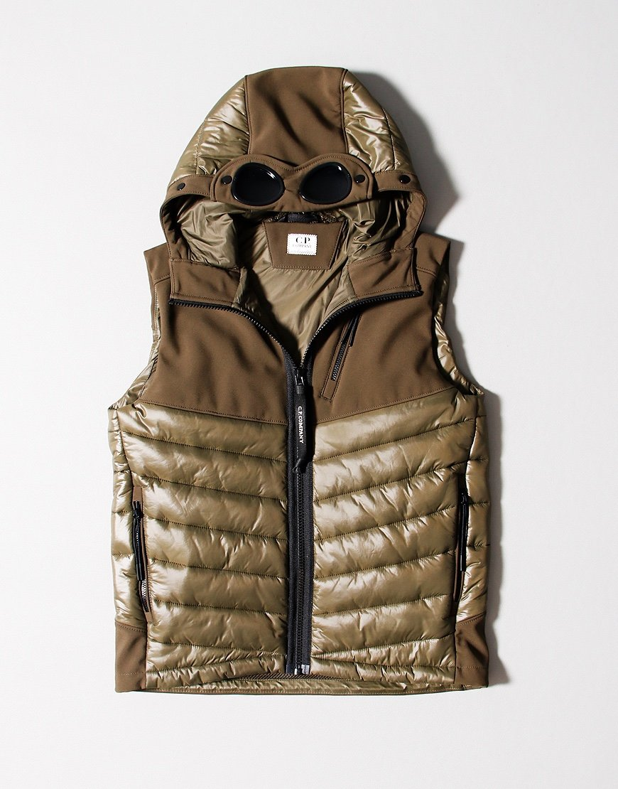 C.P. Company Kids Shell Mixed Padded Goggle Vest Ivy Green