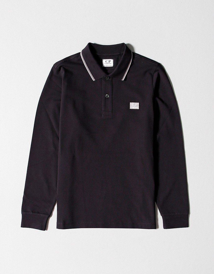 C.P. Company Kids Long Sleeve Polo Shirt Black