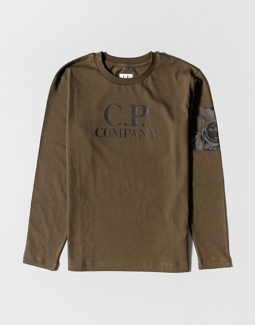 C.P. Company Kids Printed Arm Lens Long Sleeve T-Shirt Ivy Green