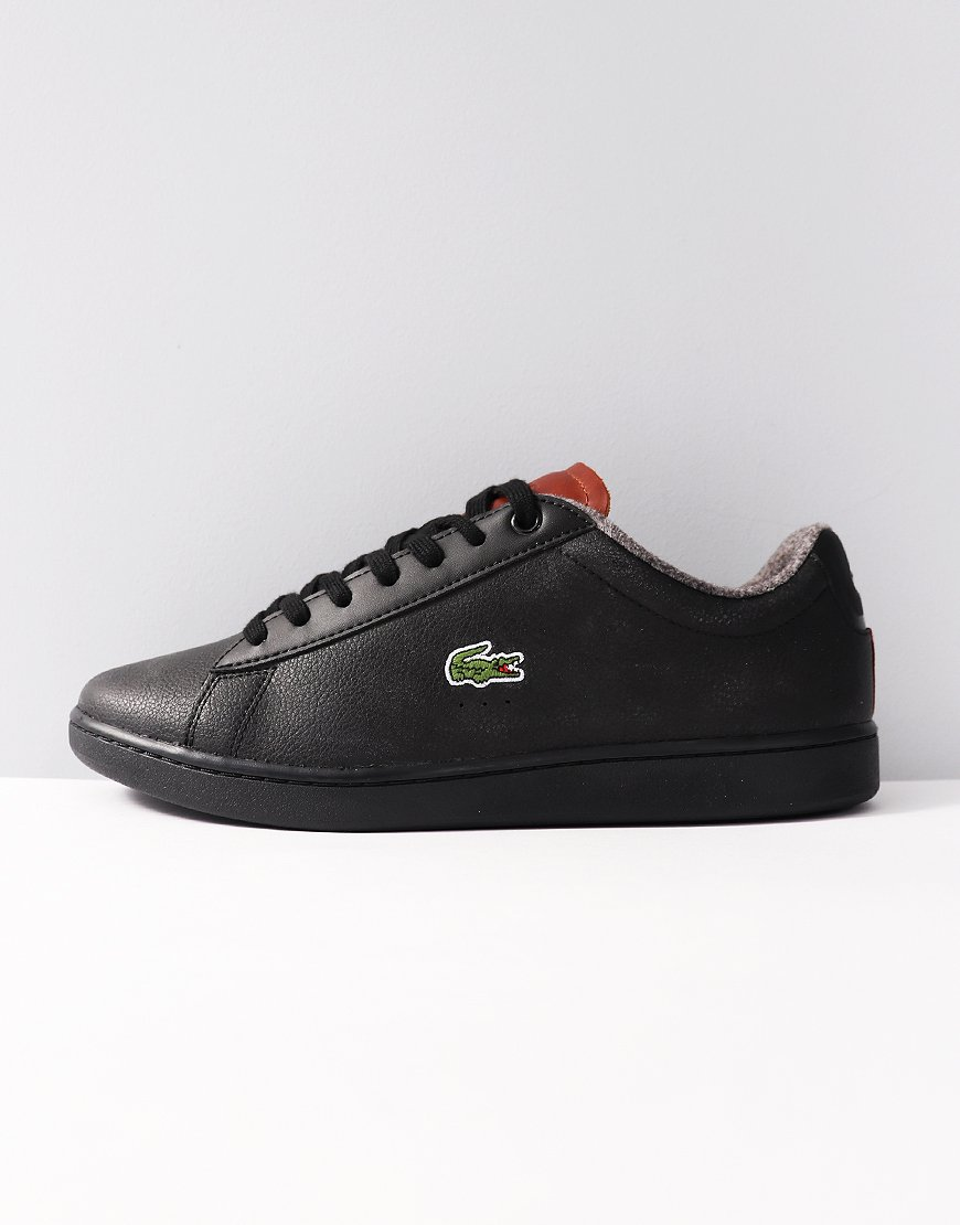 Lacoste Carnaby Evo Warm Leather Trainers Black Brown
