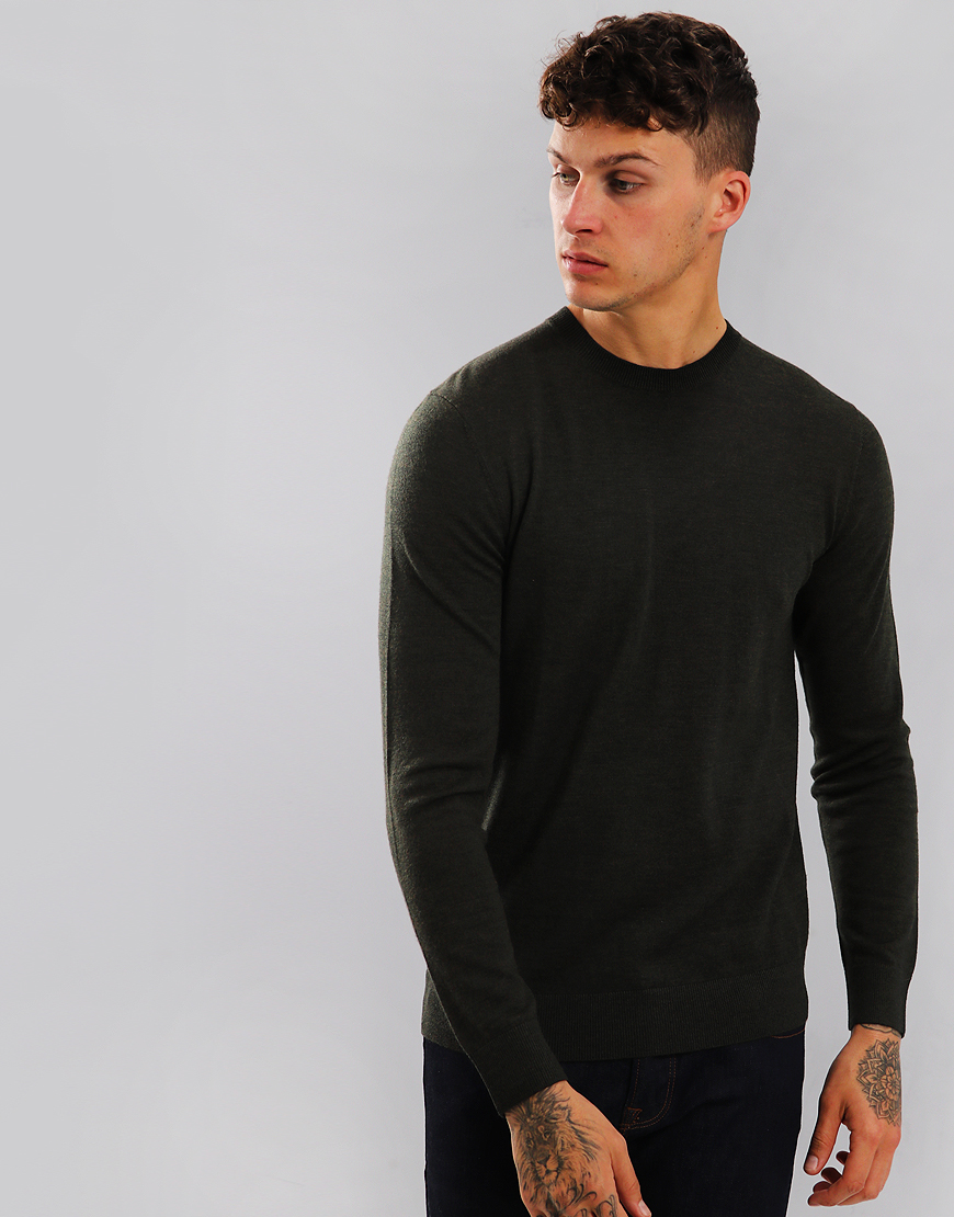 Aquascutum Carston Merino Crew Knit Military Green