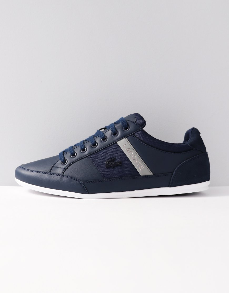 8dfccaedb8ff Lacoste Chaymon Leather Trainers Navy - Terraces Menswear