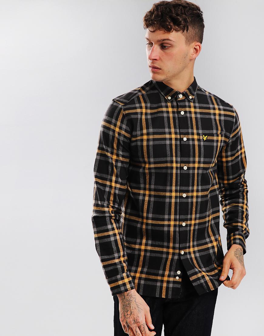 Lyle & Scott Check Flannel Shirt True Black/Urban Grey