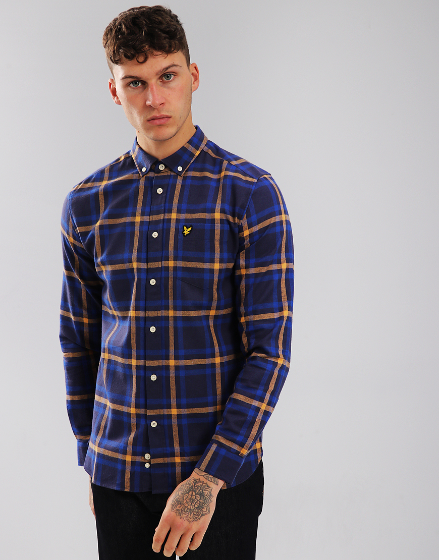 Lyle & Scott Check Flannel Shirt Duke Blue