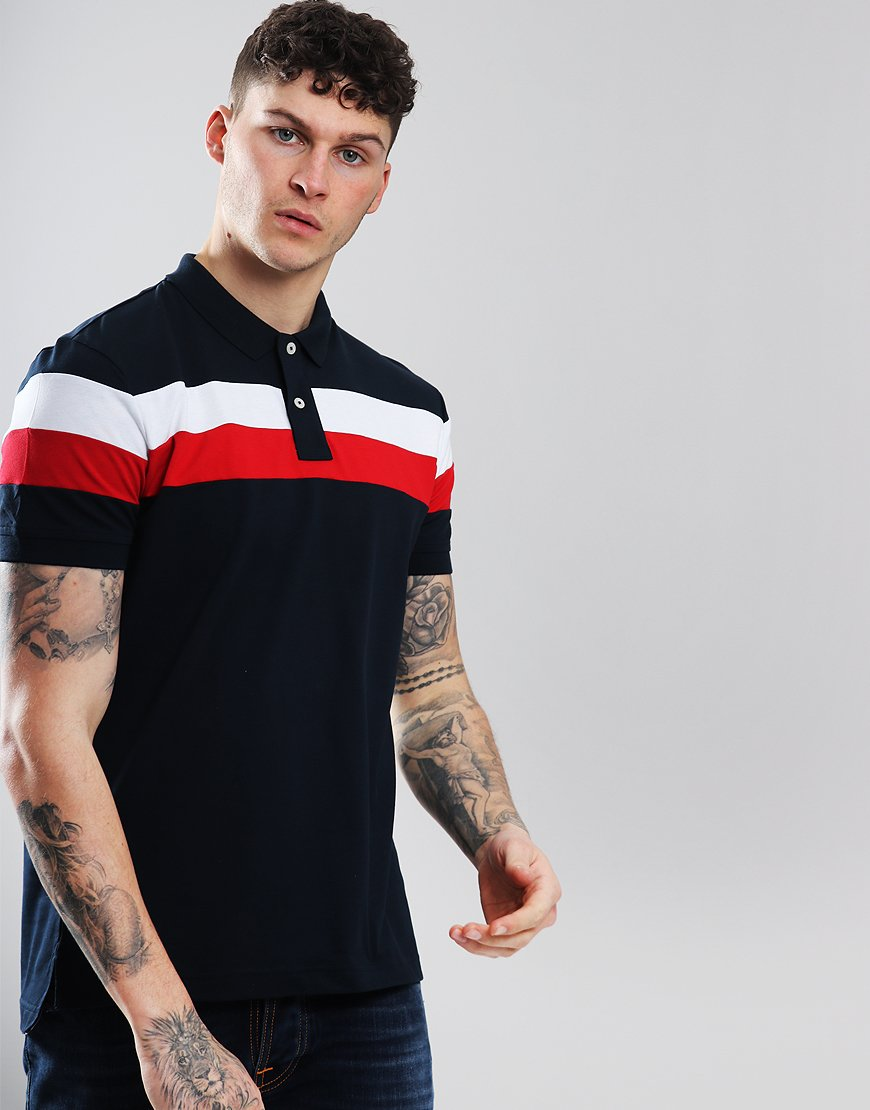 Tommy Hilfiger Chest Stripe Polo Shirt Sky Captain