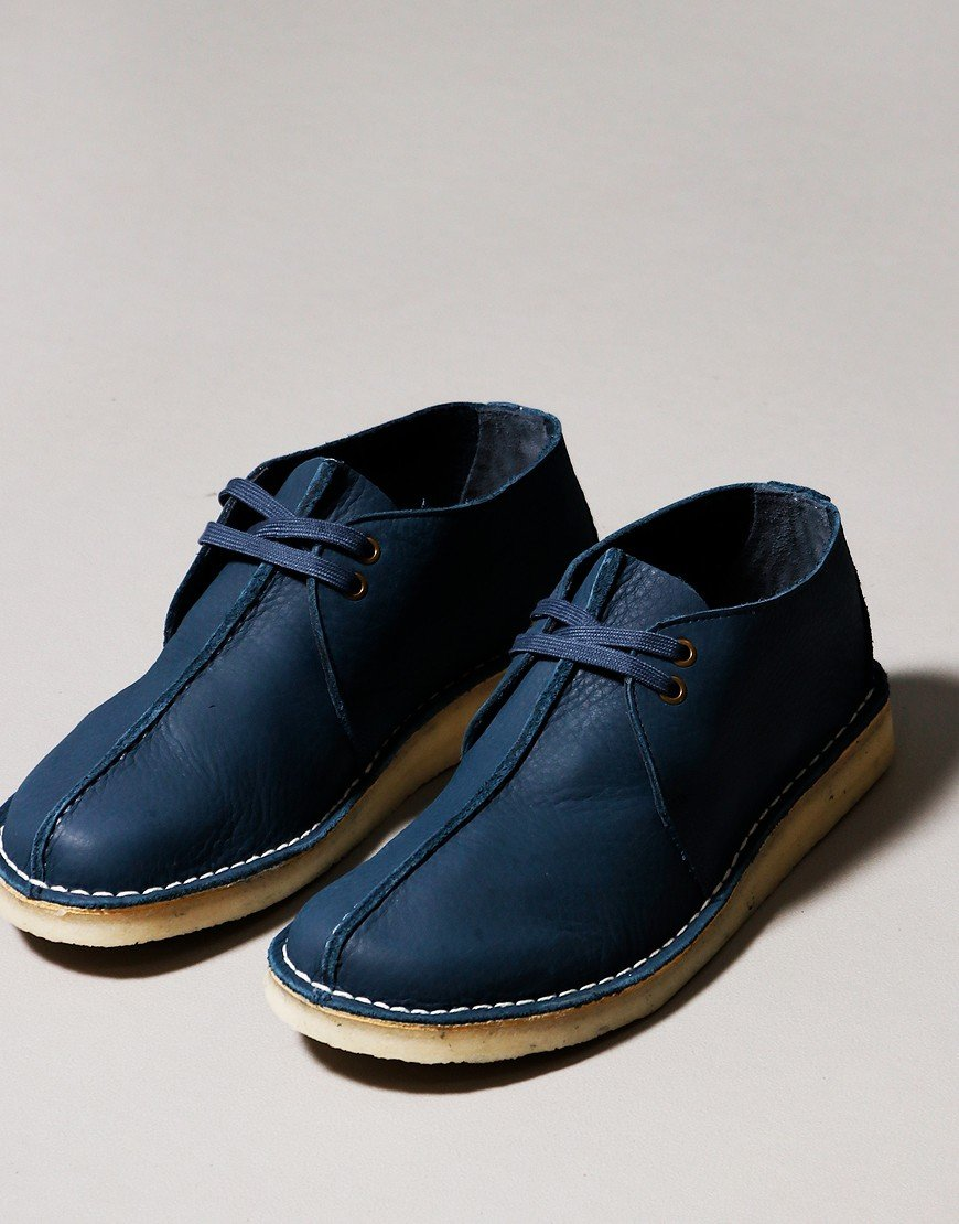 Clarks Originals Desert Trek Shoes Blue Nubuck