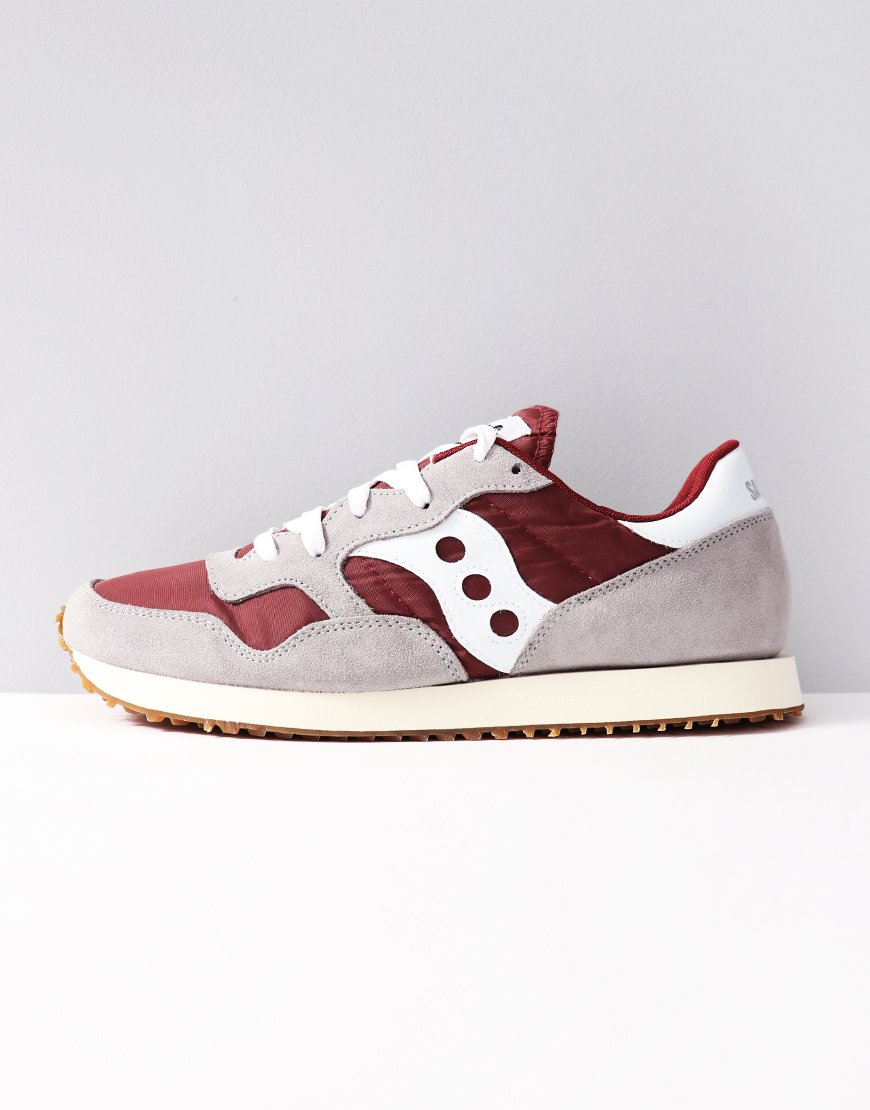 Saucony DXN Vintage Sneakers Grey Maroon - Terraces Menswear 6ab6c46edc4f