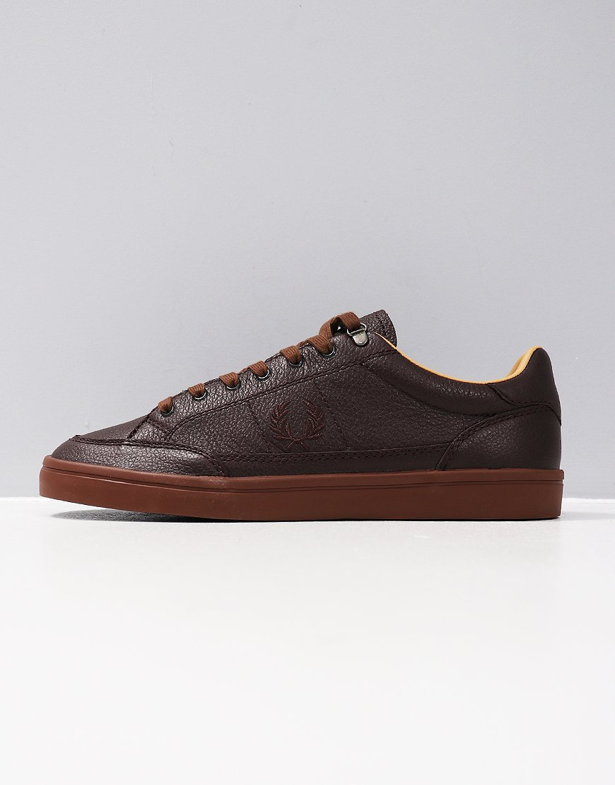Fred Perry Deuce Premium Leather Trainers Chocolate