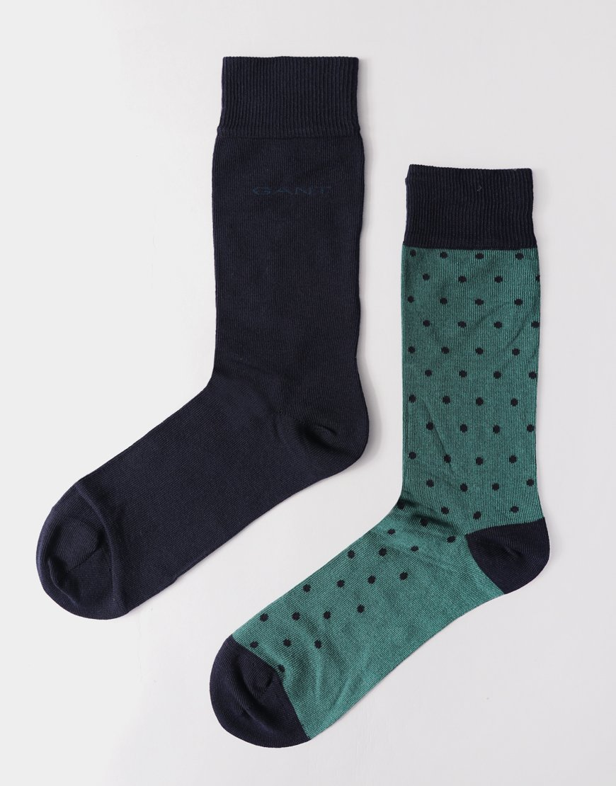 Gant Double Pack Socks Dot/June Bug Green