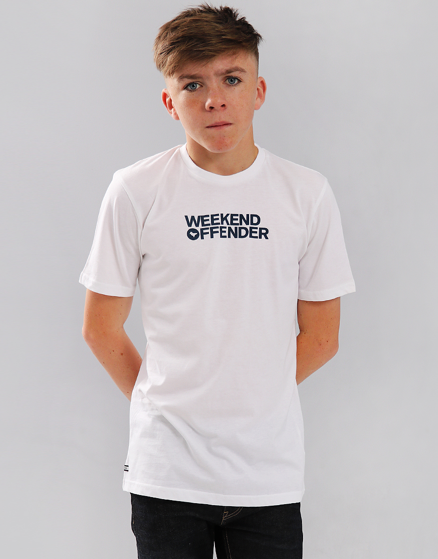 Weekend Offender Kids Dove Font T-Shirt White