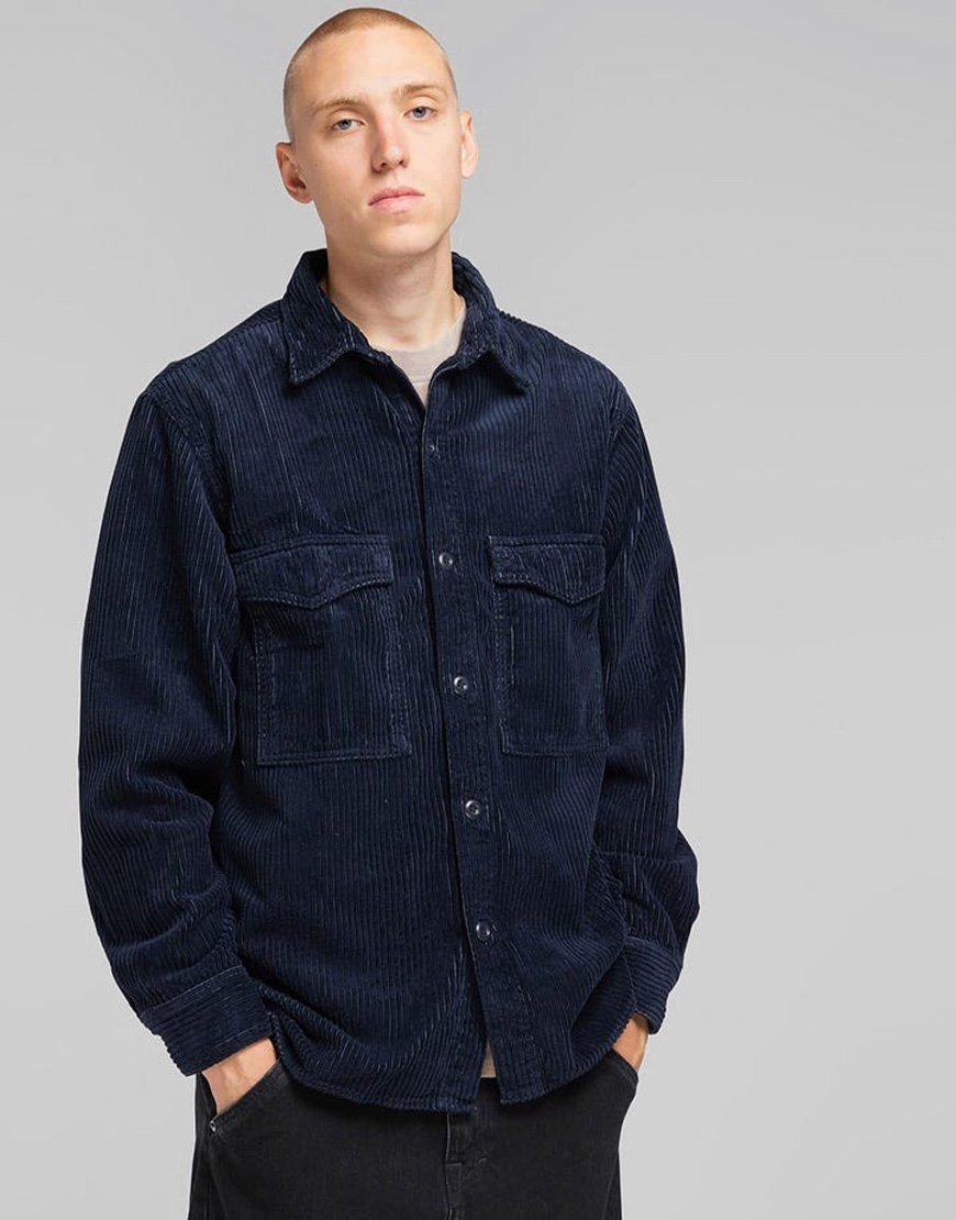 EDWIN Big Cord Shirt Dress Blue Garment Dyed