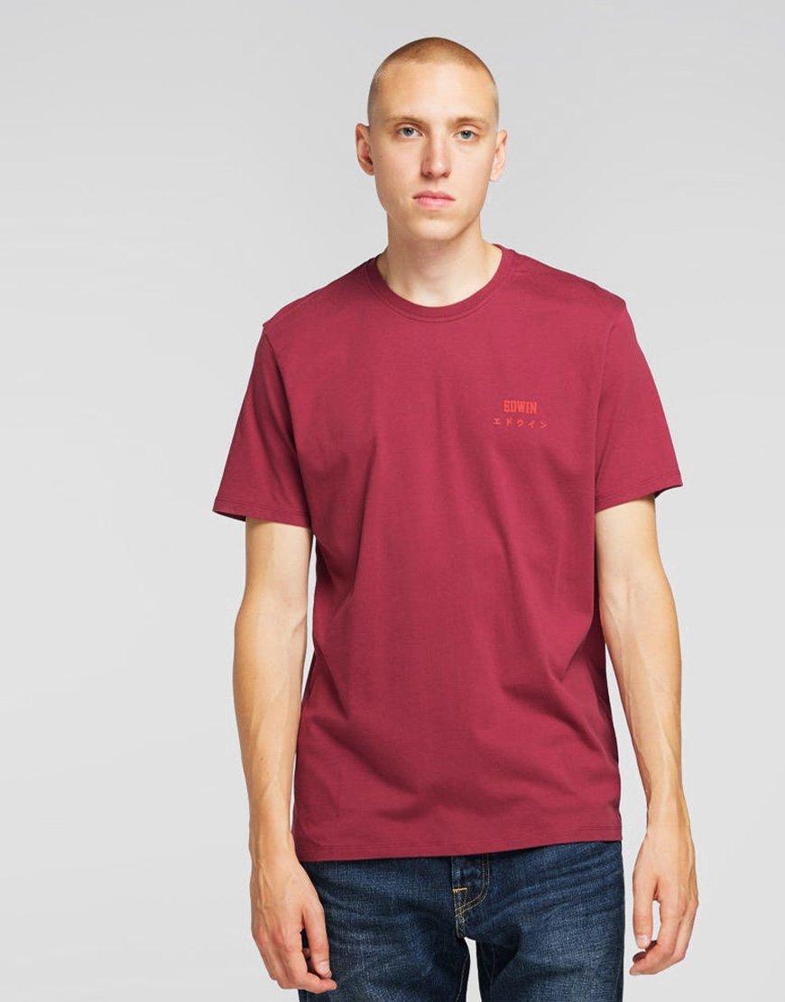 EDWIN Chest Logo T-shirt  Ruby Wine