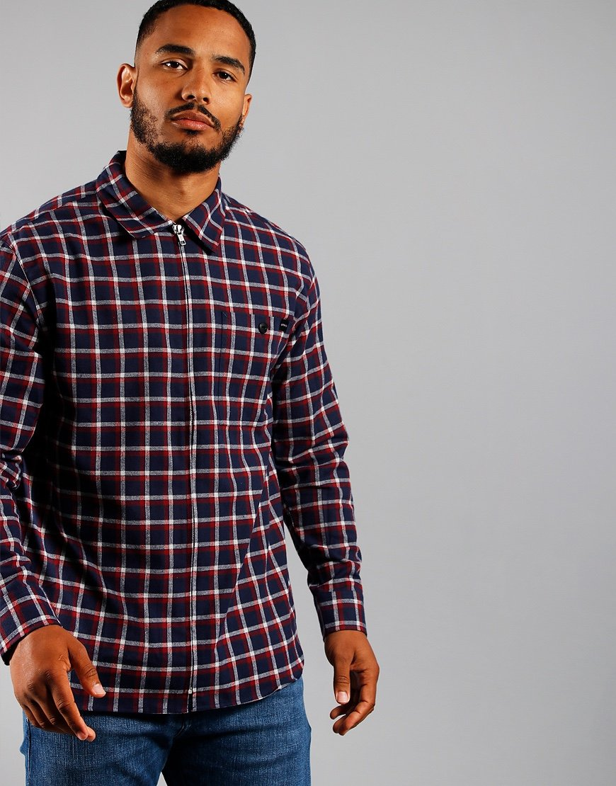 EDWIN Wilson Zip Through Shirt Navy/Red