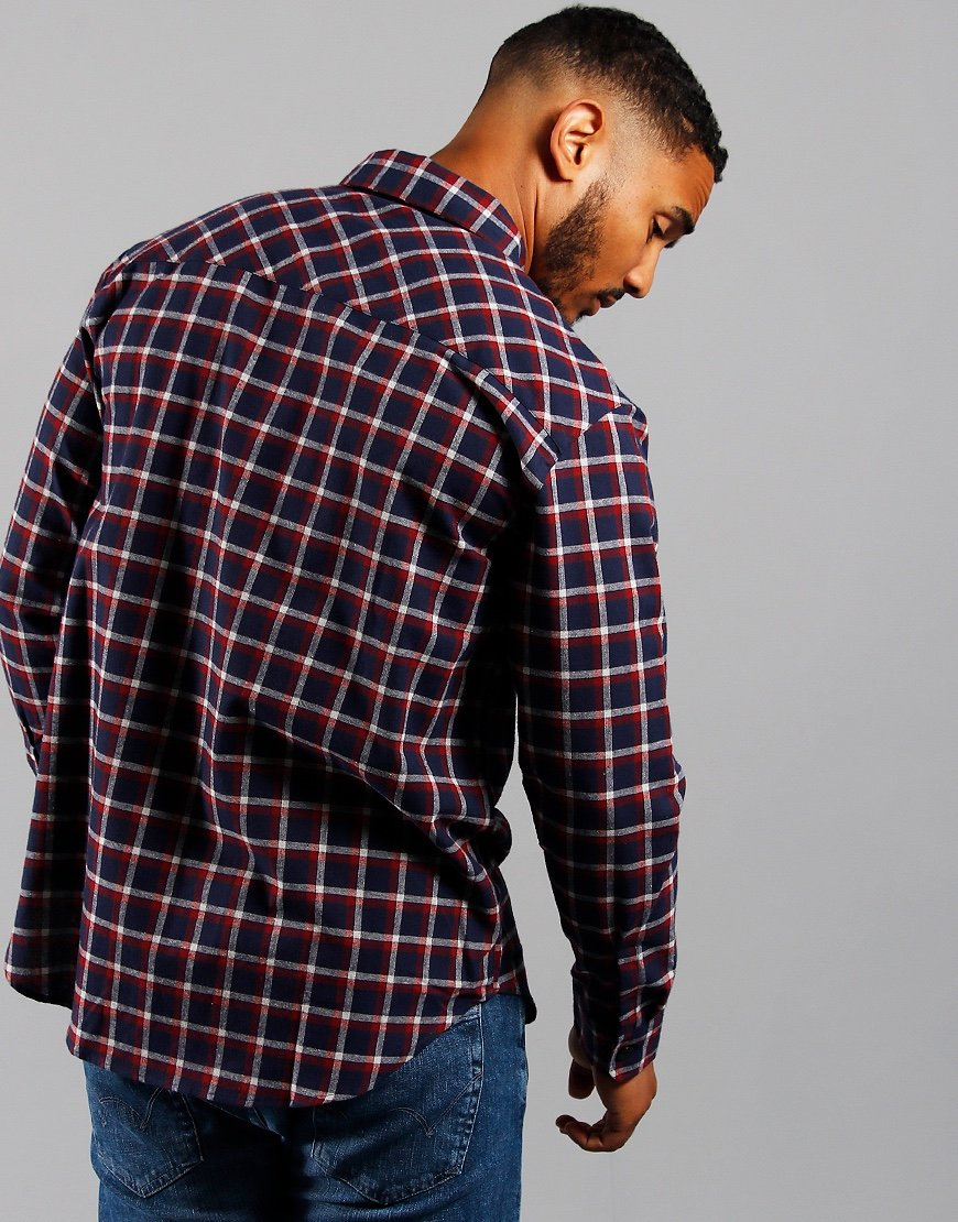 EDWIN Wilson Zip Through Shirt Navy/Red