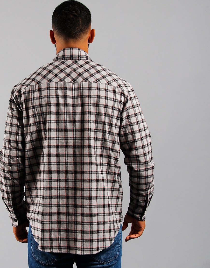EDWIN Wilson Zip Through Shirt Silver Cloud/Cantaloupe