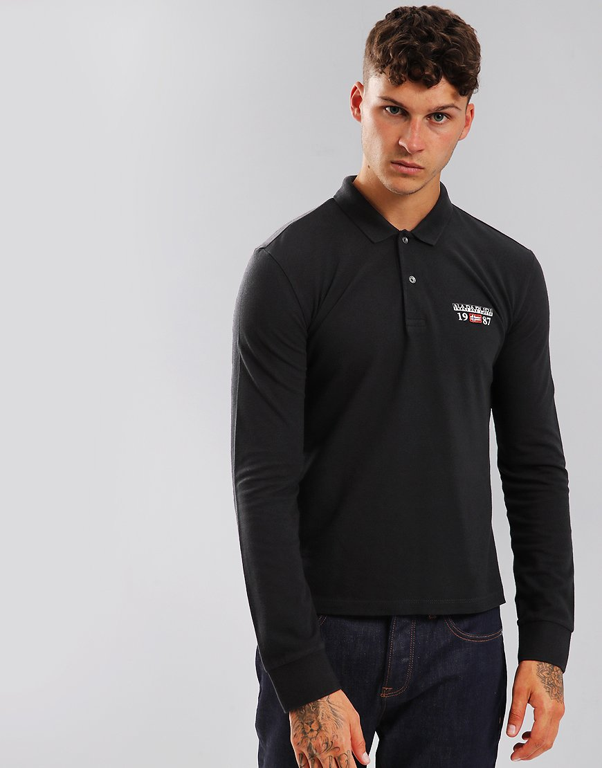 Napapijri Long Sleeve Erthow Polo Shirt Black