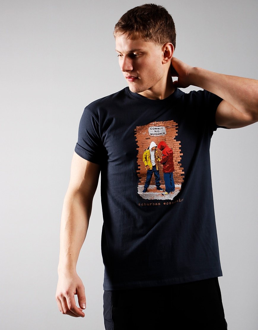 Eighties Casuals Commit No Nuisance T-Shirt Navy