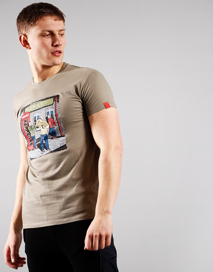 Eighties Casuals The Grim North T-Shirt Khaki