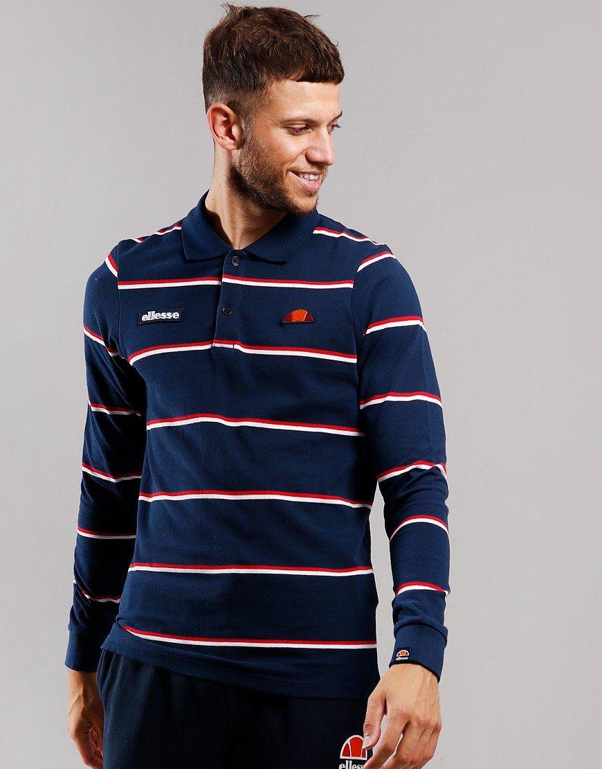 Ellesse Maffio Long Sleeve Polo Shirt Navy